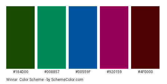 Winrar - Color scheme palette thumbnail - #184d00 #008857 #00559f #920159 #4f0000