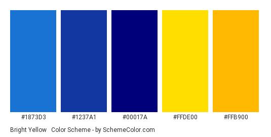 Bright Yellow & Navy - Color scheme palette thumbnail - #1873d3 #1237a1 #00017a #ffde00 #ffb900