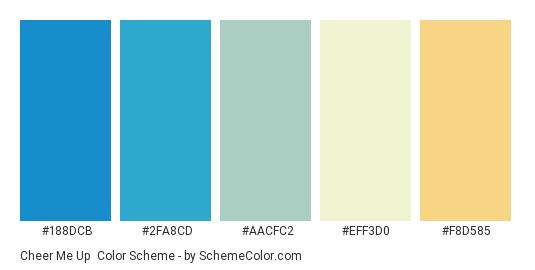Cheer Me Up - Color scheme palette thumbnail - #188dcb #2fa8cd #aacfc2 #eff3d0 #f8d585