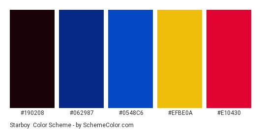 Starboy - Color scheme palette thumbnail - #190208 #062987 #0548C6 #EFBE0A #E10430