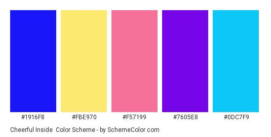 Cheerful Inside - Color scheme palette thumbnail - #1916f8 #fbe970 #f57199 #7605e8 #0dc7f9