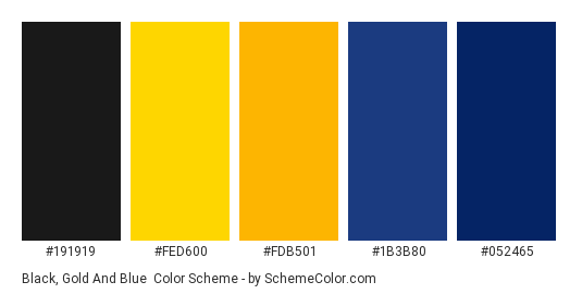 Black, Gold and Blue - Color scheme palette thumbnail - #191919 #fed600 #fdb501 #1b3b80 #052465