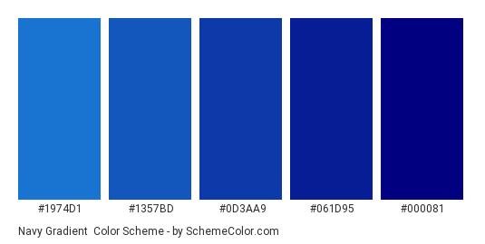 Navy Gradient - Color scheme palette thumbnail - #1974D1 #1357BD #0D3AA9 #061D95 #000081