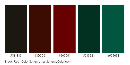 Black, Red & Green - Color scheme palette thumbnail - #1B1810 #3D0C01 #660001 #013221 #00563E