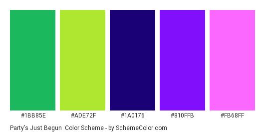 Party's Just Begun - Color scheme palette thumbnail - #1BB85E #ADE72F #1A0176 #810FFB #FB68FF