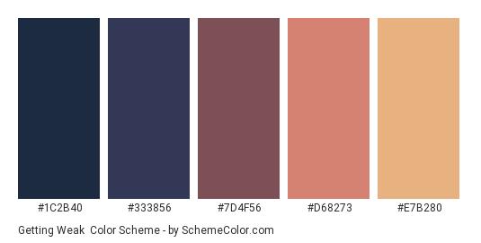 Getting Weak - Color scheme palette thumbnail - #1C2B40 #333856 #7D4F56 #D68273 #E7B280