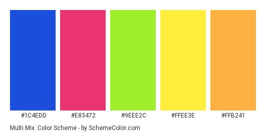 Multi Mix - Color scheme palette thumbnail - #1C4EDD #E83472 #9EEE2C #FFEE3E #FFB241
