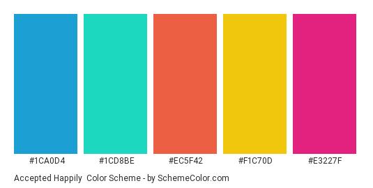 Accepted Happily - Color scheme palette thumbnail - #1CA0D4 #1CD8BE #EC5F42 #F1C70D #E3227F