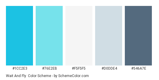 Wait and Fly - Color scheme palette thumbnail - #1CC2E3 #76E2EB #F5F5F5 #D0DDE4 #546A7E