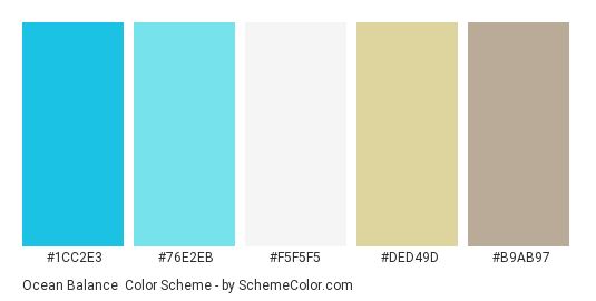 Ocean Balance - Color scheme palette thumbnail - #1CC2E3 #76E2EB #F5F5F5 #ded49d #b9ab97
