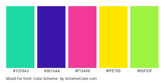 Mood for Vivid - Color scheme palette thumbnail - #1CD9A3 #3B16AA #F13A98 #FFE700 #9DF33F