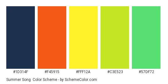 Summer Song - Color scheme palette thumbnail - #1D314F #F45915 #fff12a #c3e523 #57df72