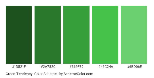 Green Tendency - Color scheme palette thumbnail - #1D521F #2A782C #369F39 #46C24A #6BD06E