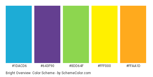Bright Overview - Color scheme palette thumbnail - #1DACD6 #643F90 #8DD64F #FFF000 #FFAA1D