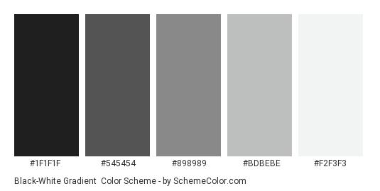 Black-White Gradient - Color scheme palette thumbnail - #1F1F1F #545454 #898989 #BDBEBE #F2F3F3