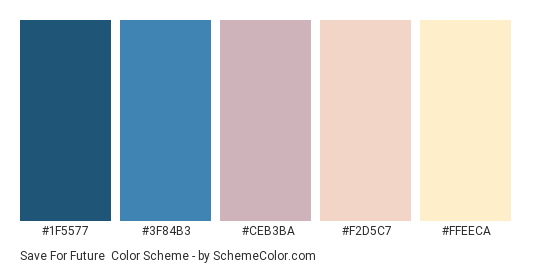 Save for Future - Color scheme palette thumbnail - #1F5577 #3F84B3 #CEB3BA #F2D5C7 #FFEECA