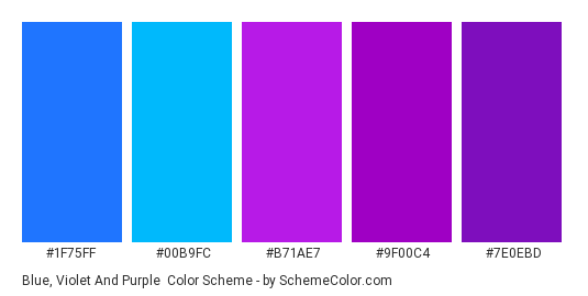 Blue, Violet and Purple - Color scheme palette thumbnail - #1F75FF #00B9FC #B71AE7 #9F00C4 #7E0EBD