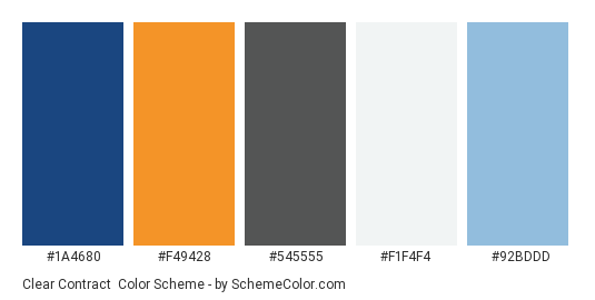 Clear Contract - Color scheme palette thumbnail - #1a4680 #f49428 #545555 #f1f4f4 #92bddd
