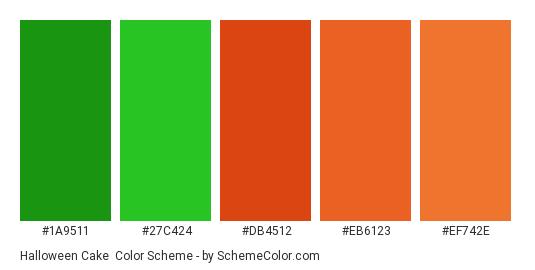 Halloween Cake - Color scheme palette thumbnail - #1a9511 #27c424 #db4512 #eb6123 #ef742e