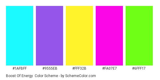 Boost of Energy - Color scheme palette thumbnail - #1afbff #9555eb #fff32b #fa07e7 #6fff17