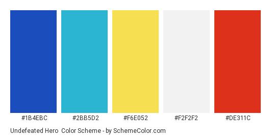 Undefeated Hero - Color scheme palette thumbnail - #1b4ebc #2bb5d2 #f6e052 #f2f2f2 #de311c