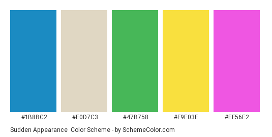 Sudden Appearance - Color scheme palette thumbnail - #1b8bc2 #e0d7c3 #47b758 #f9e03e #ef56e2