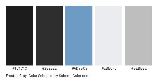 Frosted Gray - Color scheme palette thumbnail - #1c1c1c #2e2e2e #6d9bc3 #ebecf0 #bebebe