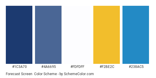 Forecast Screen - Color scheme palette thumbnail - #1c3a70 #4a6695 #fdfdff #f2be2c #238ac5