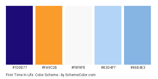 First Time In Life - Color scheme palette thumbnail - #1d0b77 #fa9c2b #f8f8f8 #b3d4f7 #86b4e3