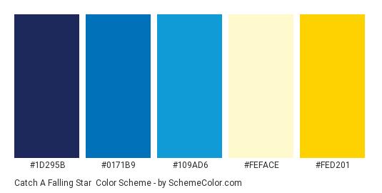 Catch a Falling Star - Color scheme palette thumbnail - #1d295b #0171b9 #109ad6 #feface #fed201