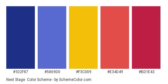 Next Stage - Color scheme palette thumbnail - #1d2f87 #5869D0 #F3C009 #E34D49 #bd1e43