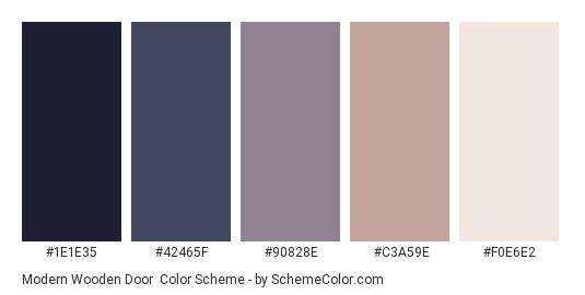 Modern Wooden Door - Color scheme palette thumbnail - #1e1e35 #42465f #90828e #c3a59e #f0e6e2