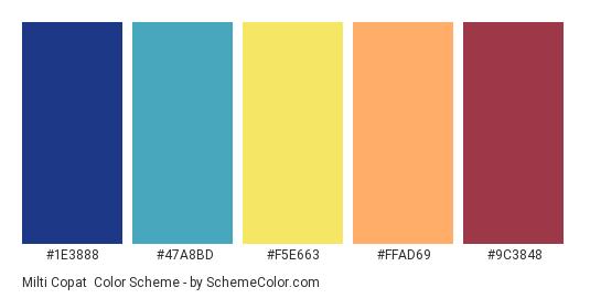 Milti Copat - Color scheme palette thumbnail - #1e3888 #47a8bd #f5e663 #ffad69 #9c3848