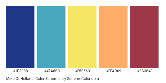 Mize Of Holland - Color scheme palette thumbnail - #1e3888 #47a8bd #f5e663 #ffad69 #9c3848