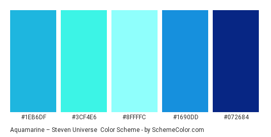 Aquamarine – Steven Universe - Color scheme palette thumbnail - #1eb6df #3cf4e6 #8ffffc #1690dd #072684