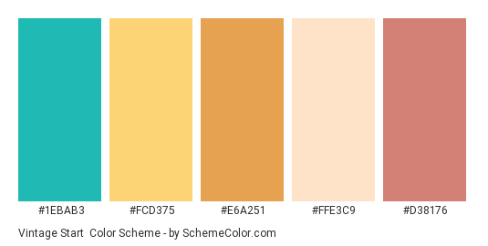 Vintage Start - Color scheme palette thumbnail - #1ebab3 #fcd375 #e6a251 #ffe3c9 #d38176