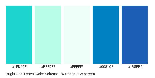 Bright Sea Tones - Color scheme palette thumbnail - #1ed4ce #b8fde7 #eefef9 #0081c2 #1b5eb6
