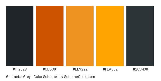 Gunmetal Grey & Orange - Color scheme palette thumbnail - #1f2528 #cd5301 #ee9222 #fea502 #2c3438