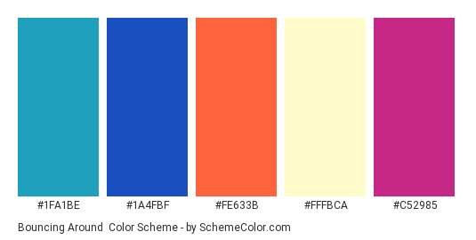 Bouncing Around - Color scheme palette thumbnail - #1fa1be #1a4fbf #fe633b #fffbca #c52985