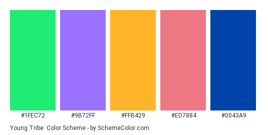 Young Tribe - Color scheme palette thumbnail - #1fec72 #9b72ff #ffb429 #ed7884 #0043a9