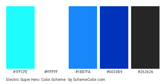 Electric Super Hero - Color scheme palette thumbnail - #1ffcfe #ffffff #1887fa #0033b9 #262626