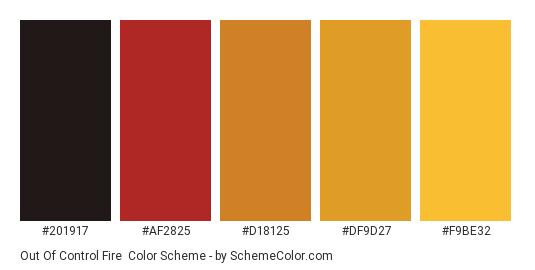 Out of Control Fire - Color scheme palette thumbnail - #201917 #af2825 #d18125 #df9d27 #f9be32