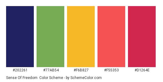 Sense of Freedom - Color scheme palette thumbnail - #202261 #77AB54 #F6B827 #F55353 #D1264E
