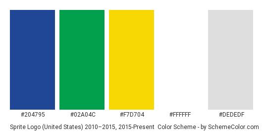 Sprite Logo (United States) 2010–2015, 2015-Present - Color scheme palette thumbnail - #204795 #02a04c #f7d704 #ffffff #dededf