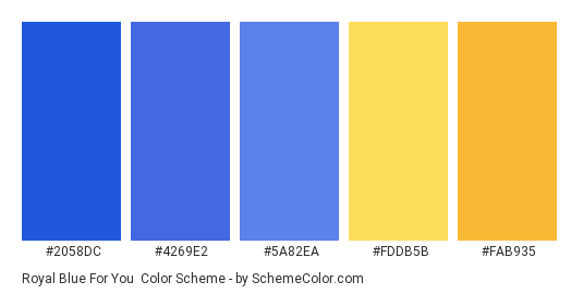 Royal Blue For You - Color scheme palette thumbnail - #2058dc #4269e2 #5a82ea #fddb5b #fab935
