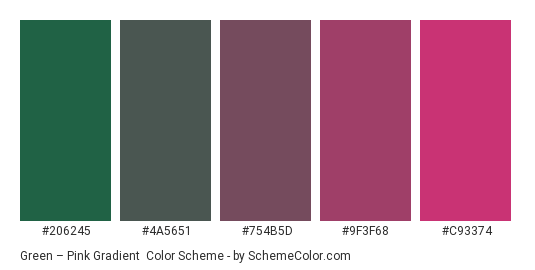 Green – Pink Gradient - Color scheme palette thumbnail - #206245 #4A5651 #754B5D #9F3F68 #C93374