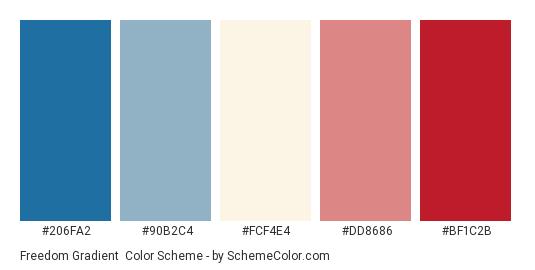 Freedom Gradient - Color scheme palette thumbnail - #206fa2 #90b2c4 #fcf4e4 #dd8686 #bf1c2b