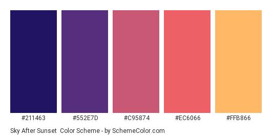 Sky After Sunset - Color scheme palette thumbnail - #211463 #552E7D #C95874 #EC6066 #FFB866
