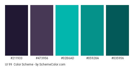 UI 99 - Color scheme palette thumbnail - #211933 #473956 #02b6ad #05928a #035956