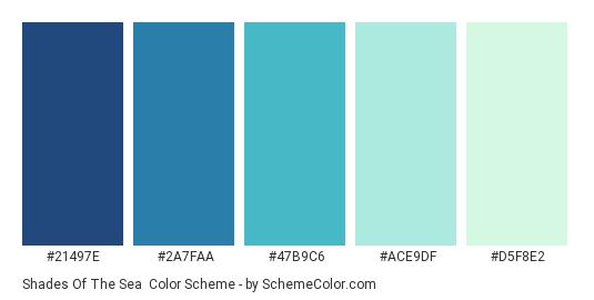 Shades of the Sea - Color scheme palette thumbnail - #21497E #2A7FAA #47B9C6 #ACE9DF #D5F8E2